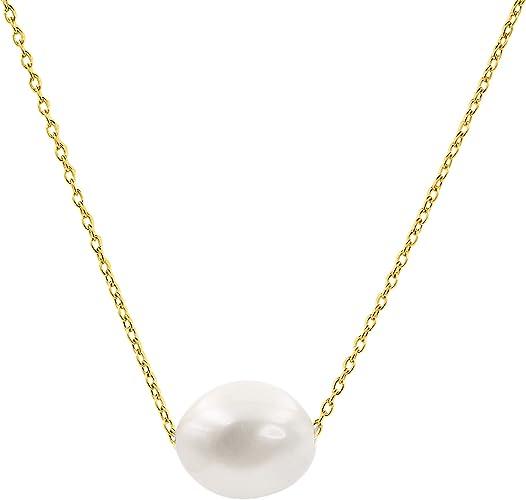 Secret & You Collar de Mujer de Perlas Cultivadas Barrocas de Agua Dulce - Cadena y Colgante Disponible enAcero Inoxidable y en Plata de Ley de 925 milésimas Bañada en Oro de 18k 38 a 45 cm de Largo