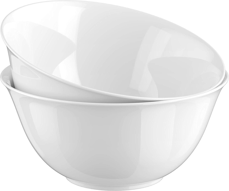 Large Serving Bowls, By Kook,Ceramic Make, For Snacks, Salad, Pasta, White, Set of 2, 9.25 inch, 3.75qt