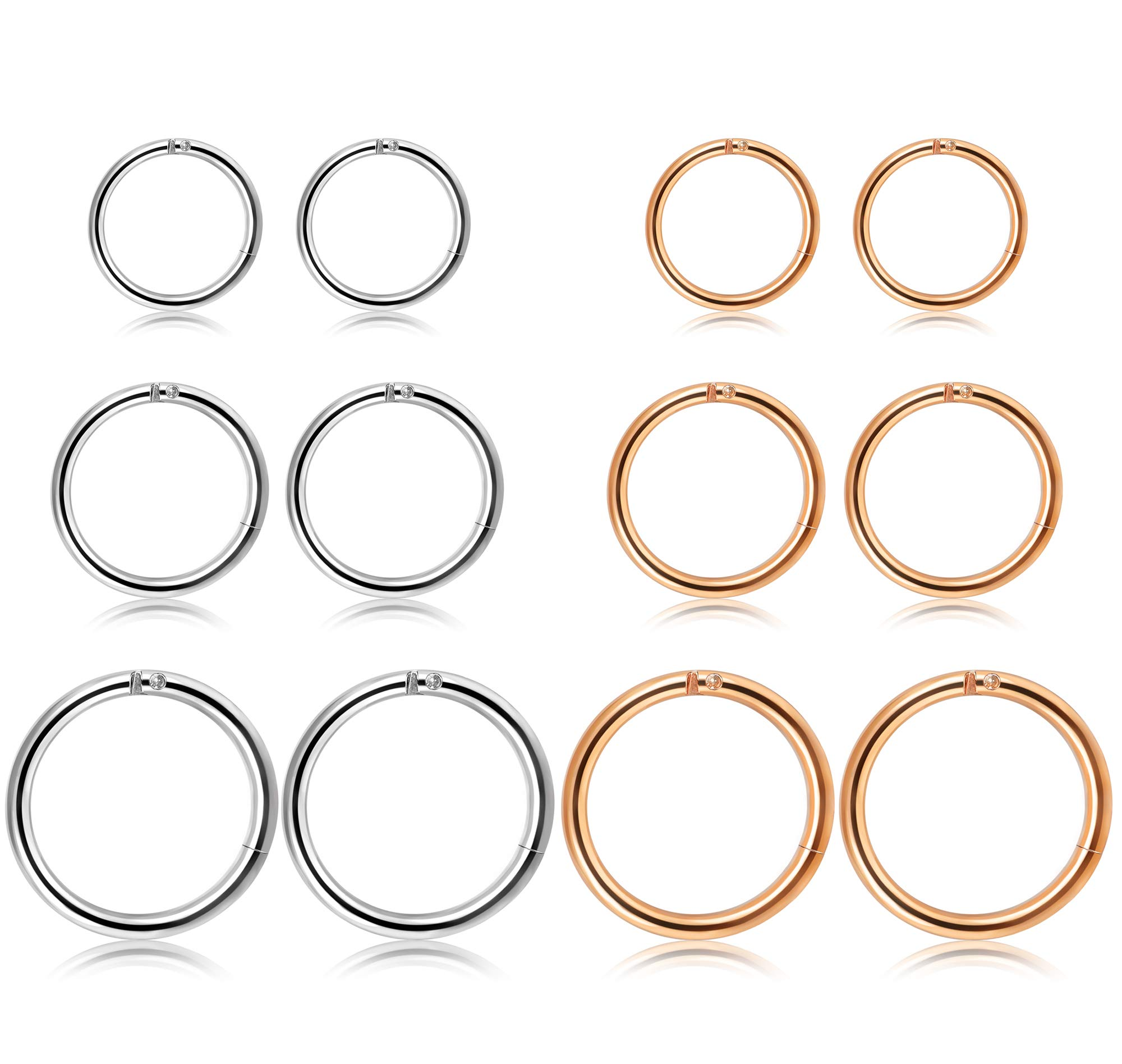 Jstyle 12Pcs 16G Surgical Steel Hinged Clicker Segment Nose Rings Hoop Helix Cartilage Daith Tragus Sleeper Earrings Body Piercing 8-12MM Improved by Jstyle