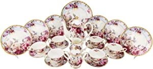 Euro Porcelain 24-pc. Vintage Tea Coffee Cup Dining Dessert Set 24K Gold Plated Roses Decorated Floral Pattern - Hand Painted Service for 6 Luxury Bone China Tableware