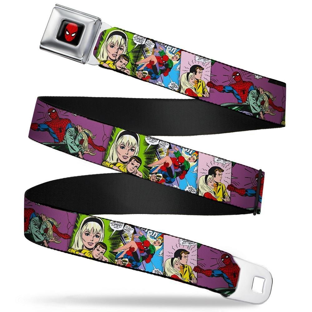 1.0 Wide Buckle-Down Seatbelt Belt Gwen Stacy /& Spider-Man Comic Scenes Stacked 20-36 Inches in Length