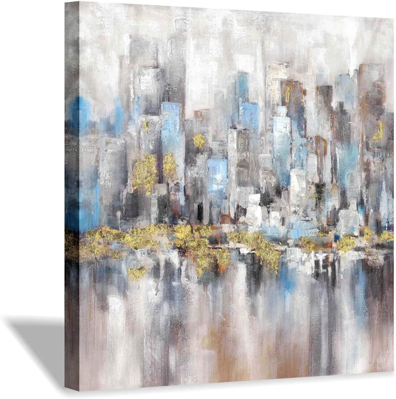 "Hardy Gallery Modern Cityscape Canvas Wall Picture: Abstract Artwork with Gold Foils Texture Picture on Canvas for Wall Decor (24"" x 24"" x 1 Panel)"