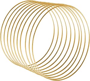 Sntieecr 10 Pack 10 Inch Large Metal Floral Hoop Wreath Macrame Gold Hoop Rings for DIY Christmas Wreath Decor, Dream Catcher and Macrame Wall Hanging Crafts