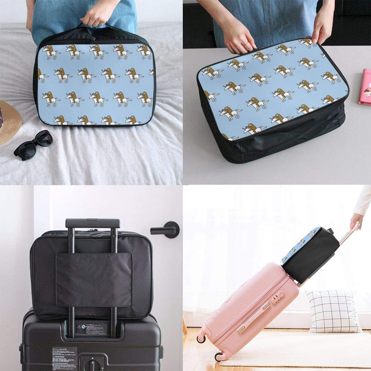 Travel Duffel Bag Waterproof Fashion Lightweight Large Capacity Portable Luggage Bag Sloth Riding Unicorn