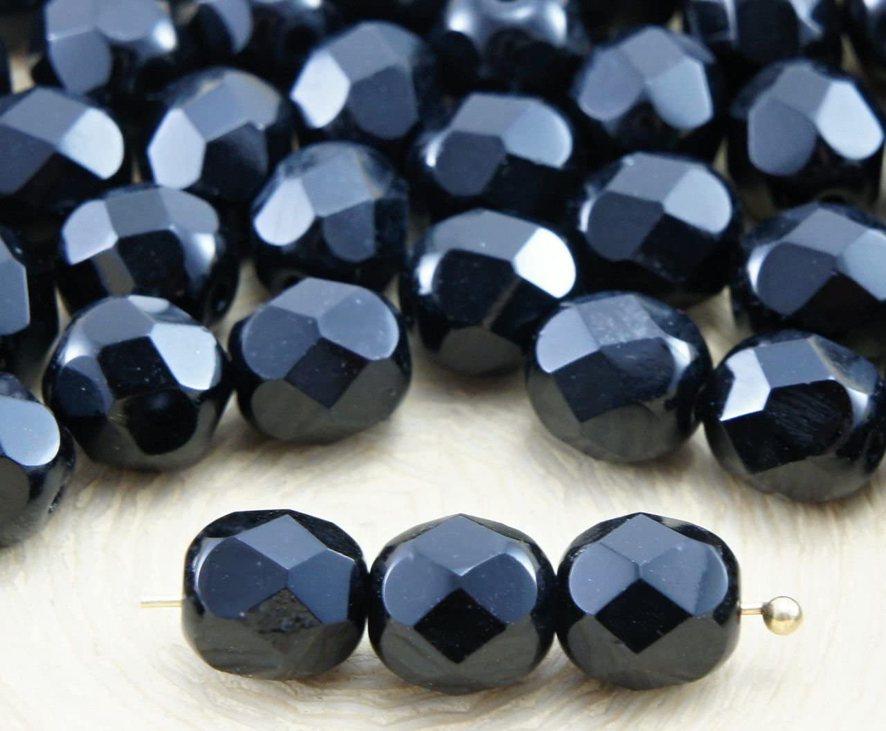 Faceted Black Fire Polished Glass Beads 7mm Round