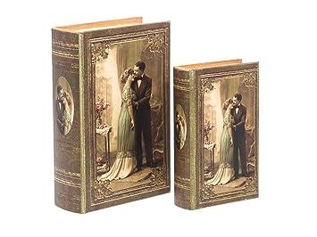 2x Schatulle Hochzeit Liebe Buchattrappe Box Schmucketui Buchtresor Buchsafe