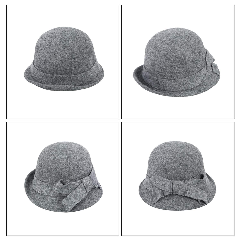 DOSOMI Women Winter Wool Fedora Hats Big Bow Wool Felt Hats Lady Party Formal Bowknot Outdoor Casual Hat