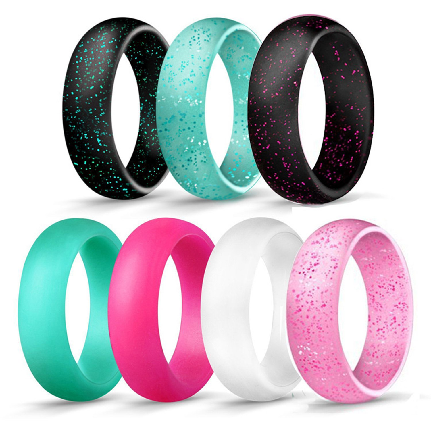 ALEXTINA 5.5MM Silicone Wedding Rings for Women Comfortable Mint Rubber Band for Sport, 7 Pack, Size 5