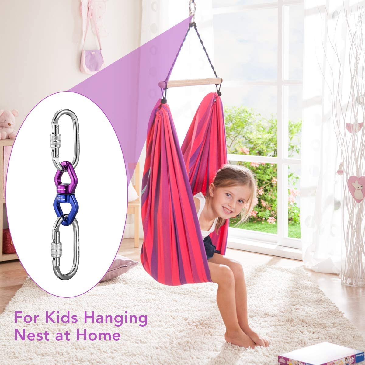 Safest Climbing Rotational Device Hanging Spinner Childrens Pod Swing Coralov Swing Swivel 30 KN with 2 Carabiner for Aerial Silks Dance Spider Web Tree Swing Hanging Hammock