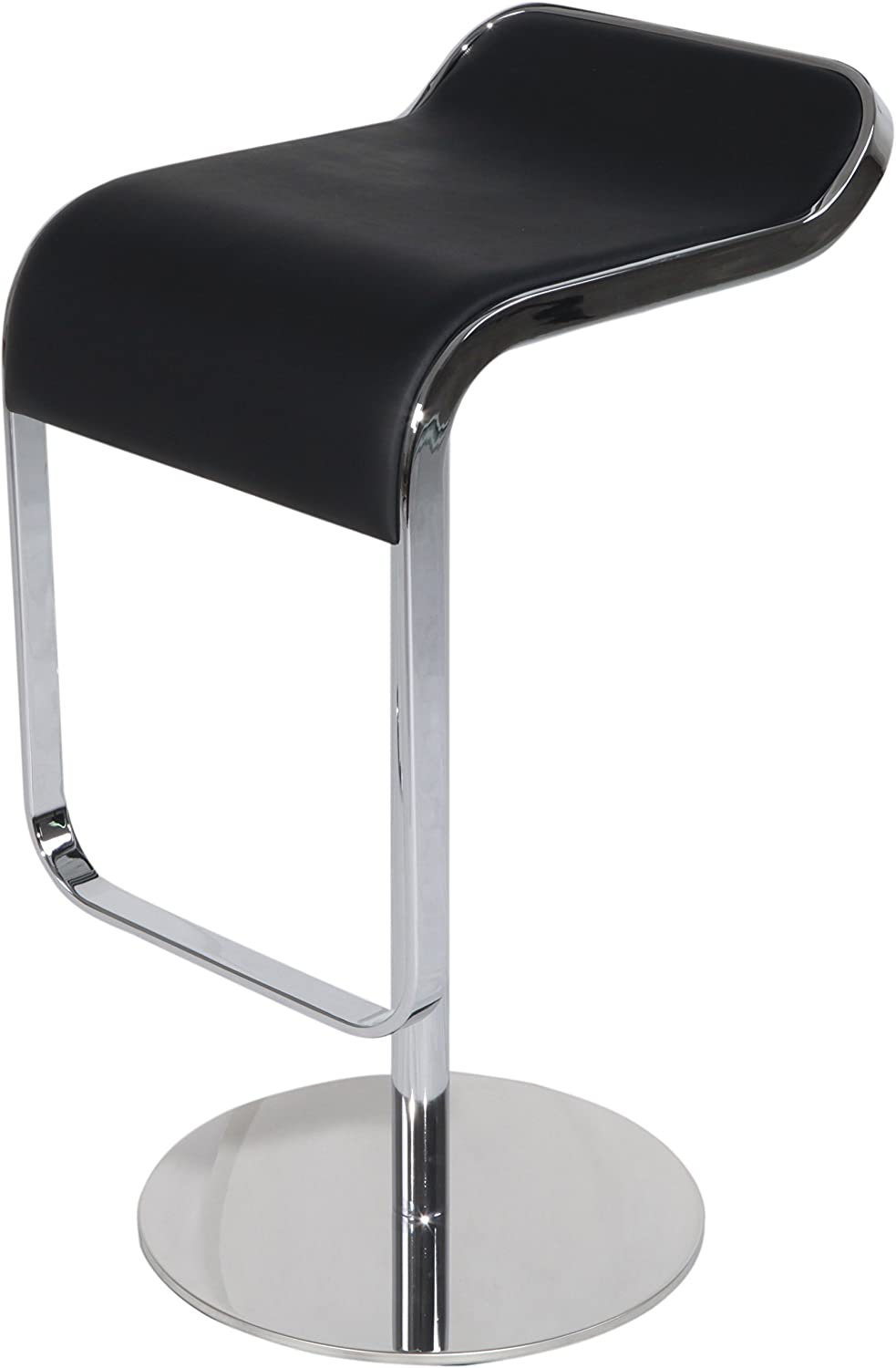 MLF LEM Style Piston Bar Stool. Adjustable 27.2 -33.1 Smooth Hydraulic Piston. 360176 Swivel Spin Smooth, Black Italian Leather. Sturdy Well-Made Polished Chrome Steel Frame.