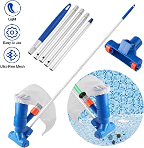 Becoyou Pool Cleaning kit, Vacuum Cleaner for Above Ground Pool Vacuum Accessories with 5 Section Pole for Above Ground Pool Spas Ponds