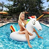 AuRiver Inflatable Unicorn Pool Float,Giant Floatie Ride-On for Kids Adults Beach Swimming Pool Party Toys Lounge Raft Decorations (White)