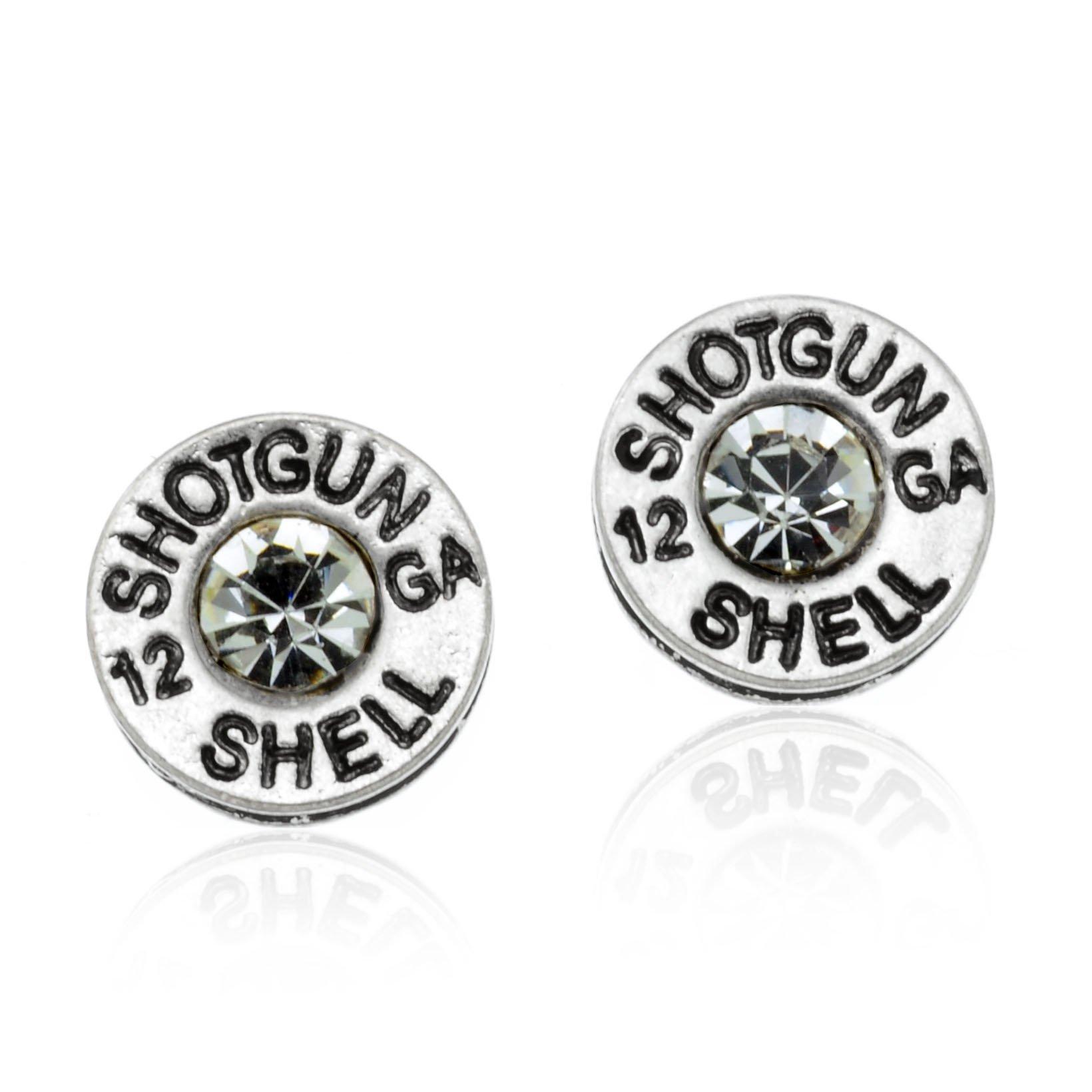 PammyJ Silvertone Simulated Bullet Shotgun Shell 12 GA Post Earrings