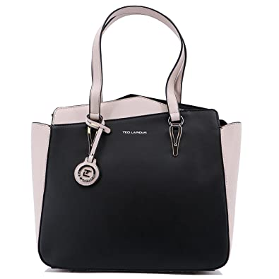 Sac shopping Ted Lapidus Oxana synthétique aspect cuir (Noir/Beige)