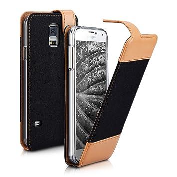 kwmobile Funda para Samsung Galaxy S5 / S5 Neo - Carcasa de [Cuero sintético] y [Tela] - Case [Plegable] en [Antracita/marrón]