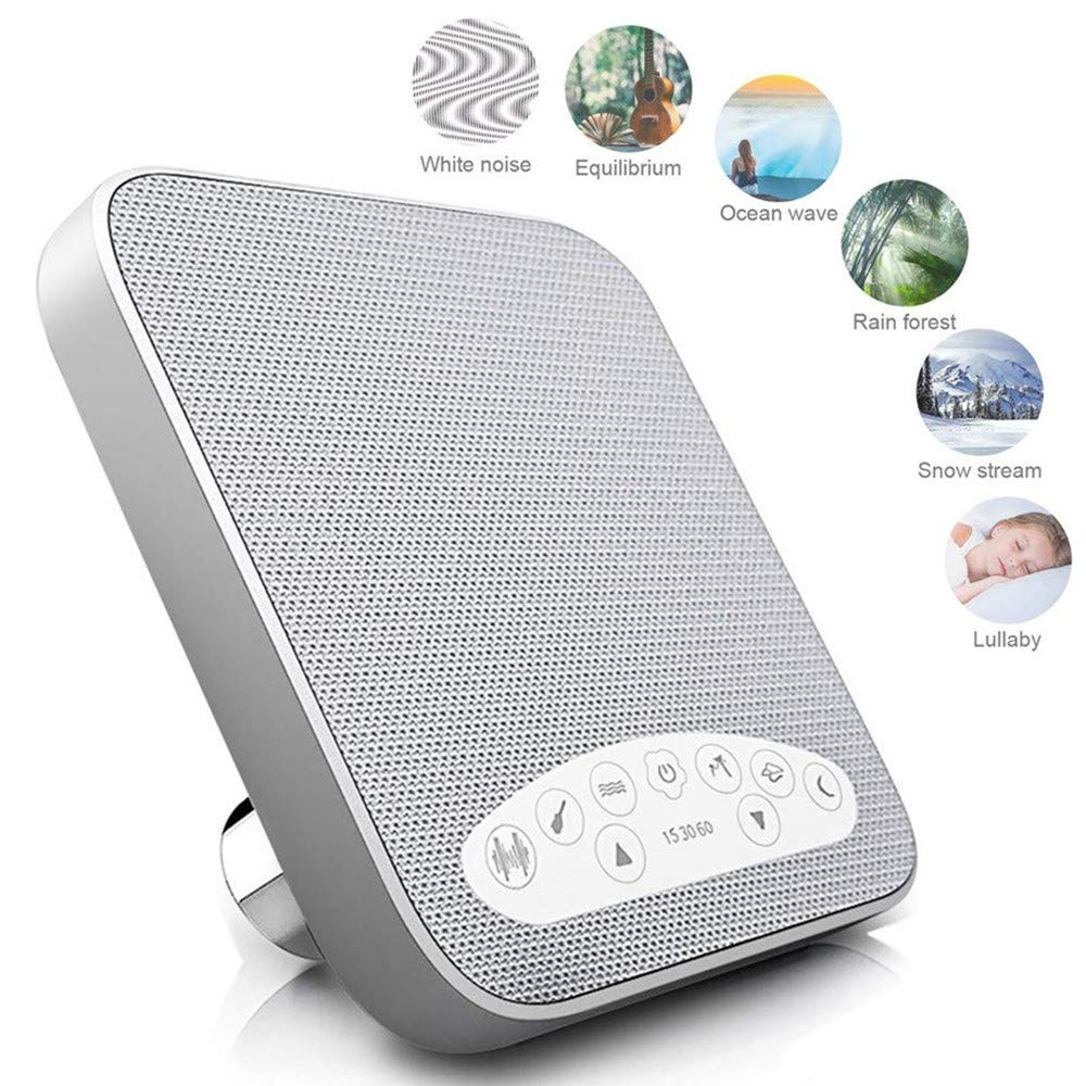 White Noise Machine, Portable Sleep Sound Machine Suitable for Home, Office, Travel, with 6 Soothing All-Natural Sounds Ideal for Baby, Tinnitus Sufferer and Light-Sleeper