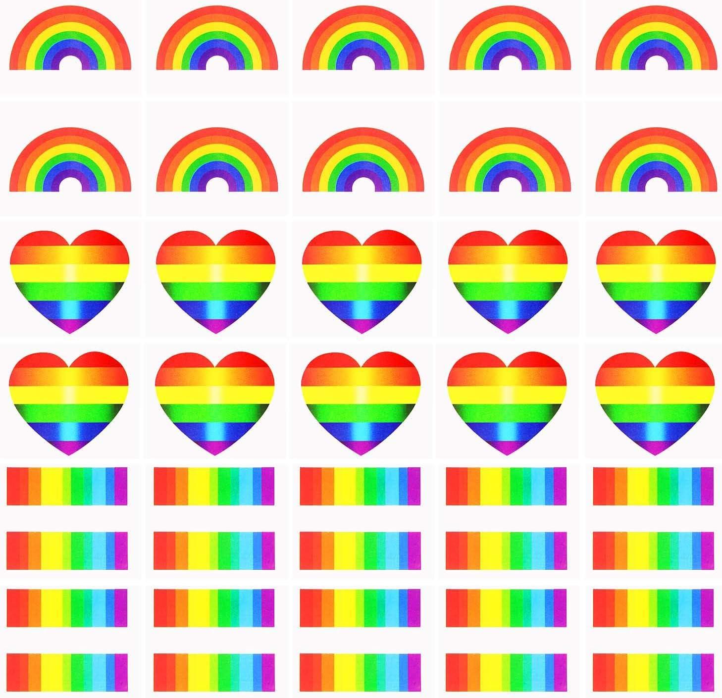 Vamei 24pcs Orgullo Gay Rainbow Stickers Tatuaje Temporal Body ...