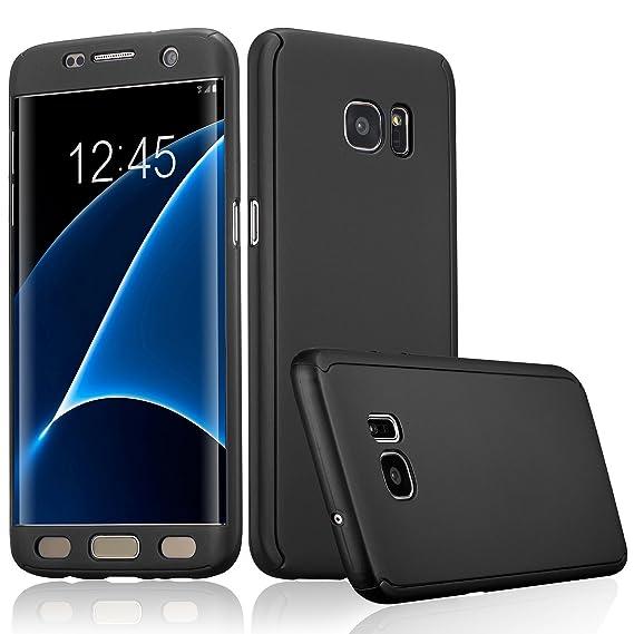 pretty nice b3614 cc55e ATOOZ(TM) Galaxy S7 Edge 360 Degree All-Around Full Body Slim Fit  Lightweight Hard Protective Skin Case Cover for Samsung Galaxy S7 Edge  (Black)