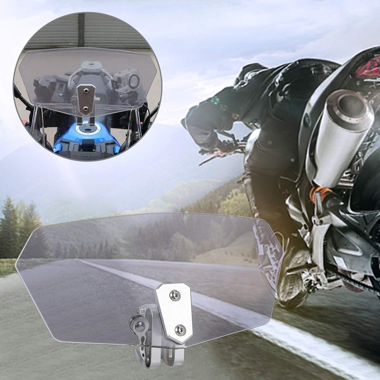 Justech Deflector de Viento de Motocicleta Parabrisas Universal Moto Clip Ajustable en el Parabrisas Extensi/ón Spoiler Pantallas de Viento Compatible con Honda Yamaha Suzuki-Transparente