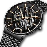 Relojes para Hombres, LIGE Acero Inoxidable Impermeable Deportes Analógico de Cuarzo…
