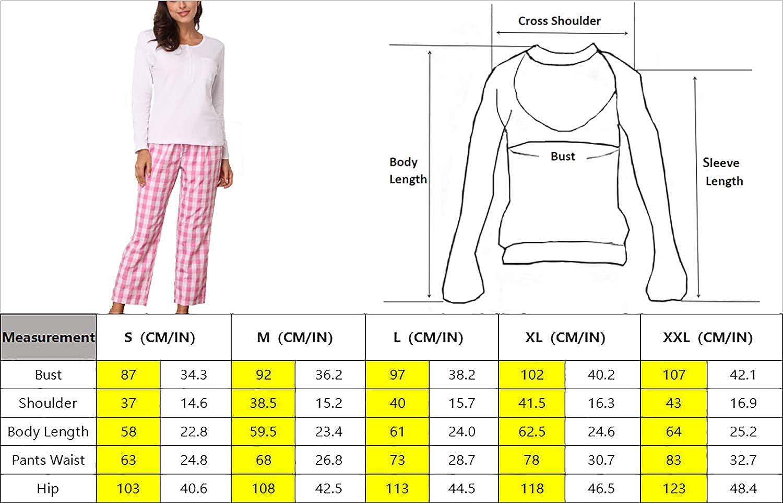 Giorzio Damen Schlafanzug Nachtw/äsche Langarm Pyjama Zweiteiliger O-Ausschnitt Baumwolle Herbst-Winter Schlafoveralls Karierte Top Hose Set f/ür Frauen S-XXL