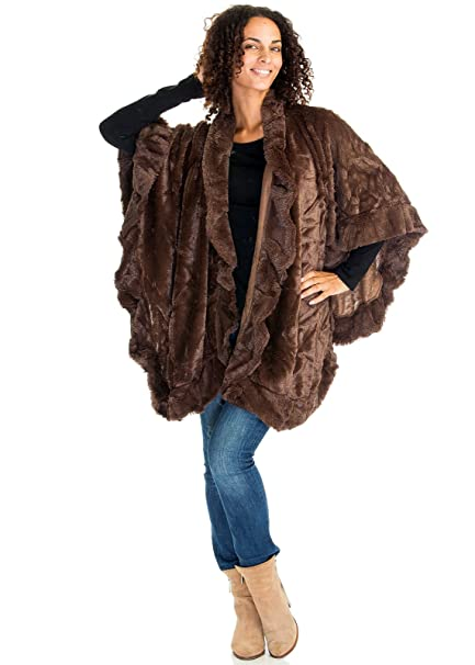 d1c9d55fcc49a Women s Winter Faux Fur Luxury Cape Poncho Ladies Wrap Shawl (One Size