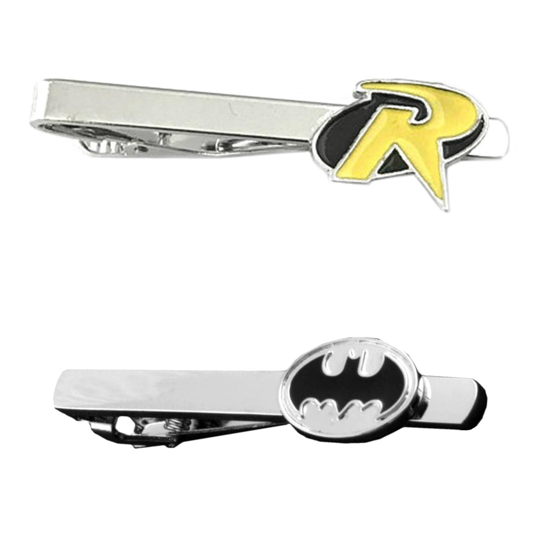 DC Comics - Robin & Batman Black Silver Oval - Tiebar Tie Clasp Set of 2 Wedding Superhero Logo w/Gift Box Outlander Brand
