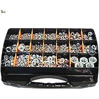 BricoLoco koffer assortiment metrische schroefdraad M3 tot M20 normaal (DIN 934), zelfborgende moeren (DIN 985), met…