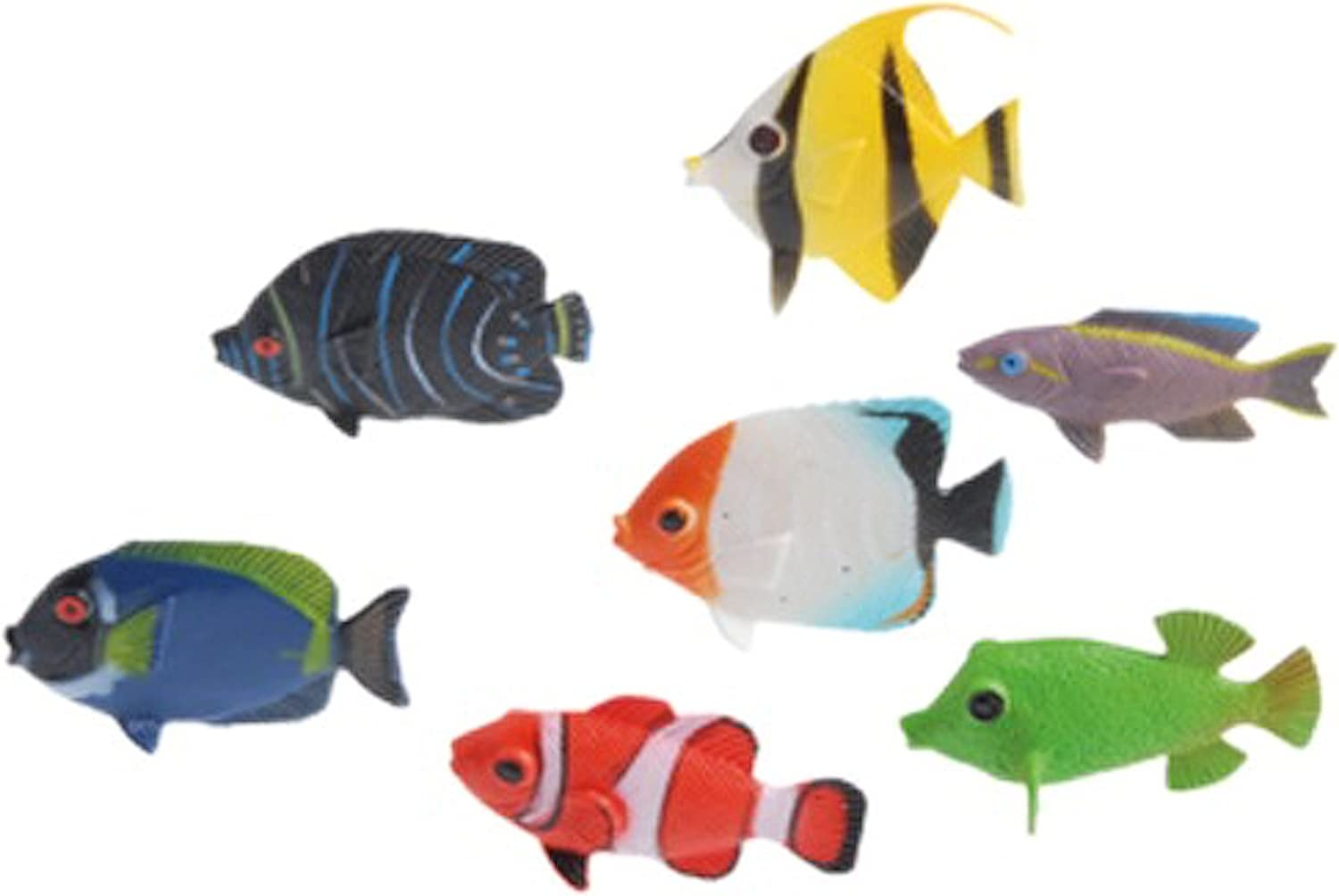 Set Of 4 Hand Made Blown Glass Tropical Fish Free Standing Multi Colored