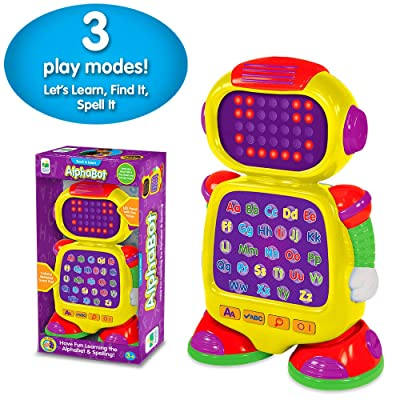 The Learning Journey Touch & Learn - AlphaBot - Interactive Alphabet, Spelling, & Phonics Robot Toy with LED Face and Three Quiz Modes - Preschool Toys & Gifts for Boys & Girls Ages 3 and Up: Toys & Games