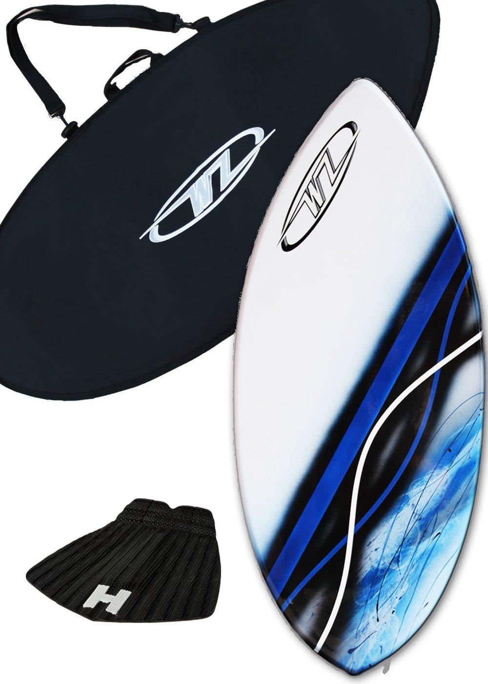 スキムボードパッケージ - ブルー - 43インチファイバーグラスウェーブゾーンリップ - ボードバッグやトラクションパッドを追加 - 145ポンドまでのライダー用  Board + Traction + Bag