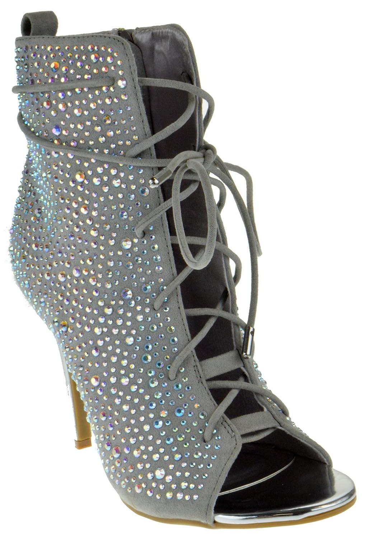 58d860c5104e Anne Michelle Royals 58S Womens Rhinestone Open Toe Stiletto Sandals