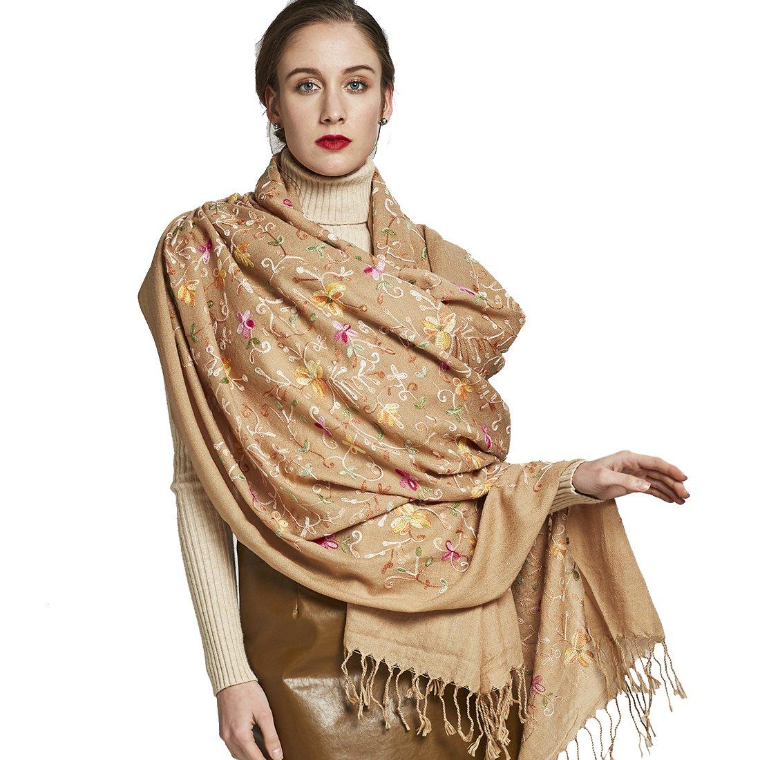 DANA XU Embroidery Wool Large Size Winter Women Pashmina Shawls and Wraps (Light Khaki)