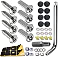 "Anti Theft License Plate Screws- Stainless Steel Bolts Fasteners Kits Lock Car Tag Frame Holder, Tamper Resistant Mounting Hardware,1/4""(M6) Security Screw Set,Rust Proof, Black Screw Caps Cover"