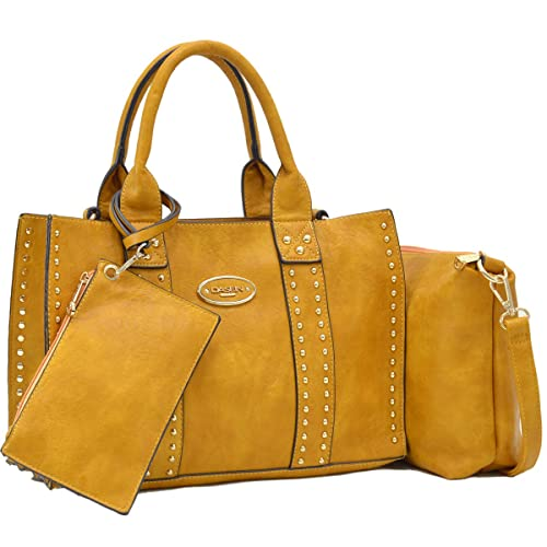 b90b662da9fcd1 Women Handbag 3 Pieces Set Leather Shoulder Bag Satchel Purse 3 in 1 Simple  Design Mustard