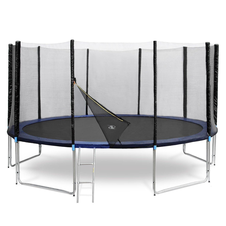 Physionics – Trampolín con la cubierta de la lluvia y cubierta de la seguridad en varias dimensiones para los adultos (red portectora, protección de resortes, escalera) - tamaño aprox. 439/439/269 cm