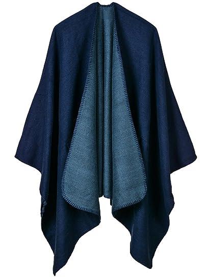 Cape Poncho Femme Foulard Couverture Chaude Vintage Rétro Châle Ouverture  Grande Taille Ample Uni Vest Epais 130 150cm à Genou Automne Hiver Bleu  Marine  ... 463dcf51323