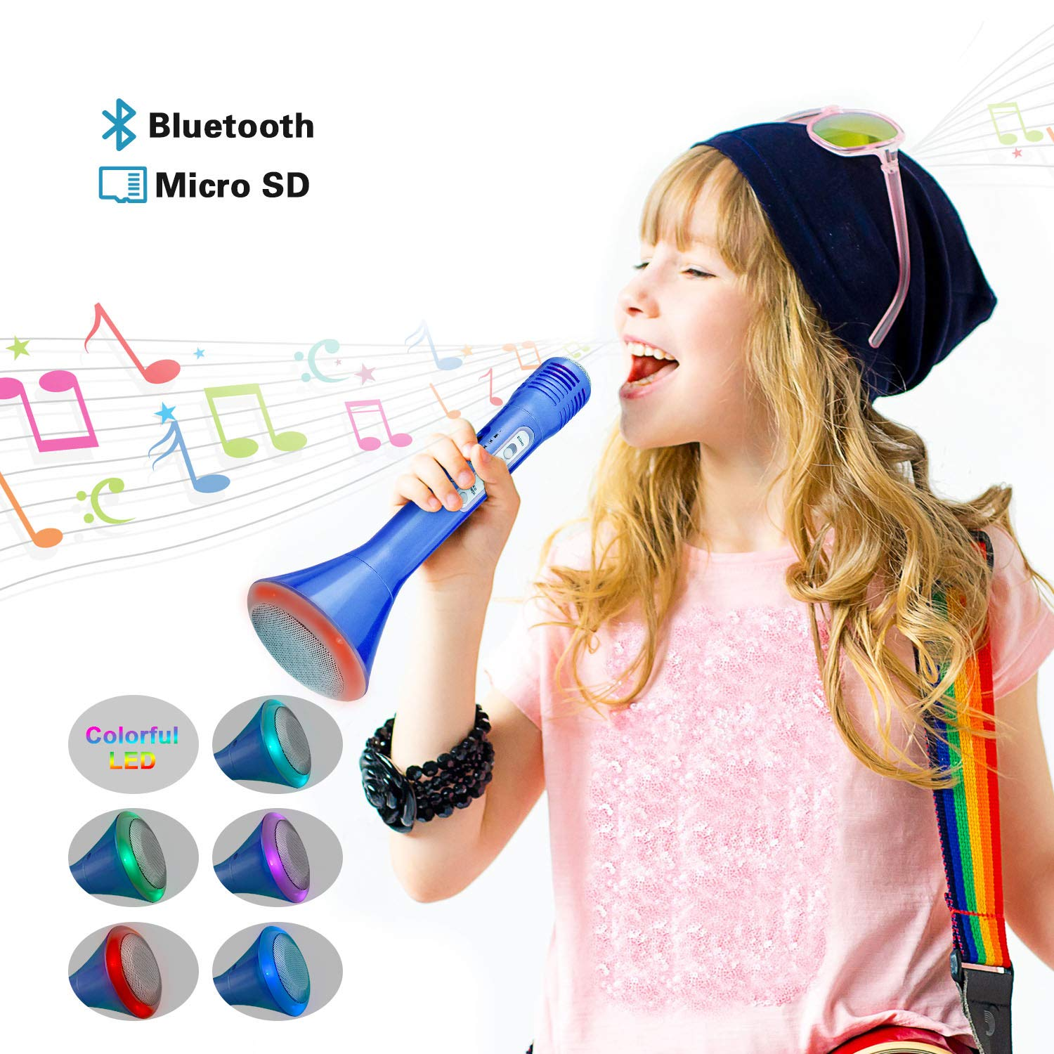 Toys for 2-15 Year Old Boys, Wireless Bluetooth Karaoke for Boy Gifts Age 2-15 Cool Toys for 2-15 Year Old Boys Microphone Christmas New Gifts for 2-15 Year Old Boys Stocking Fillers Blue LDMKF02 by Dreamingbox