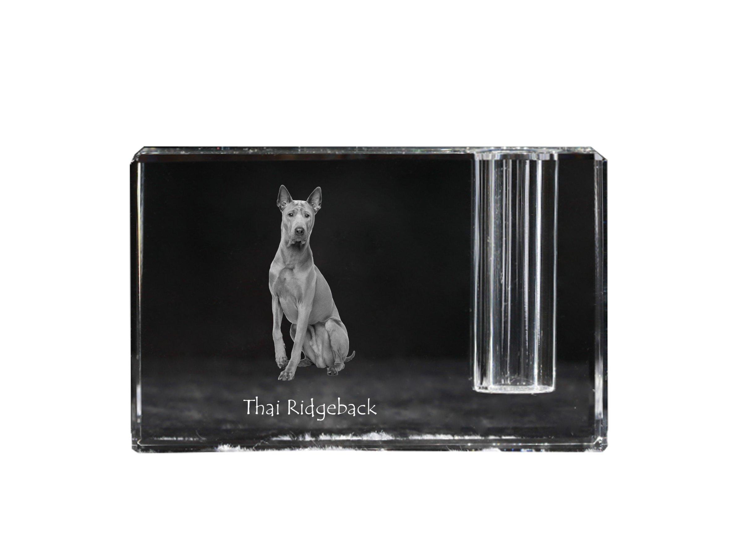 Thai Ridgeback, crystal pen holder with dog, souvenir, desk accessory, limited edition
