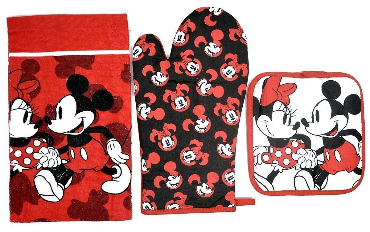Disney Gant de four Pot support plat et serviette Mickey Minnie Mouse 3/PC Ensemble de cuisine