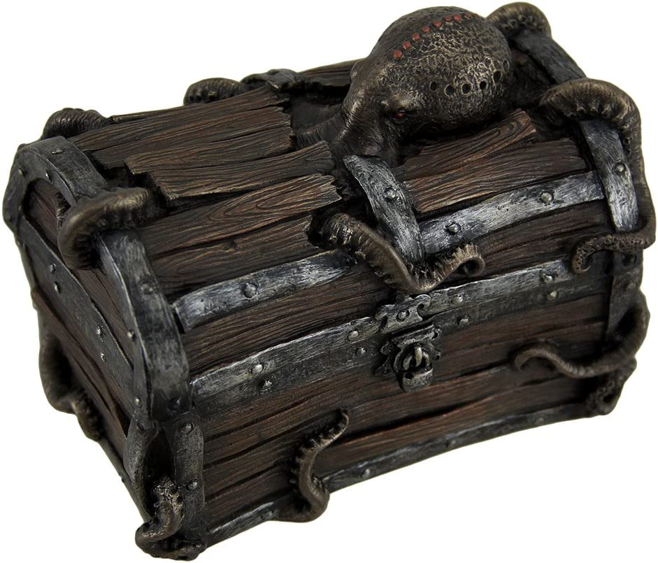 Veronese Resin Decorative Boxes Octopus Escape Decorative Deep Sea Treasure Chest Trinket Box 5 X 4 X 3 Inches Brown