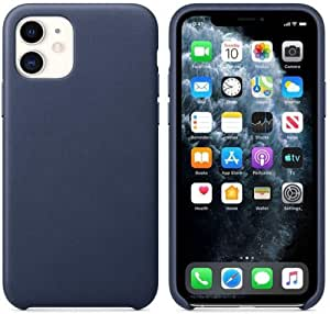 Liquid Leather Protective Cover with Soft Microfiber Cloth Cushion Lining For iPhone 12 - Dark Blue