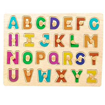 GoodLuck Baybee Kids Wooden Alphabet Puzzle Board Wooden Capital Letters (ABC) Puzzles Educational Toys Baby Learning Letter Blocks for Kids Boys & Girls Age 3+ Years
