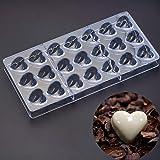 Molde de policarbonato para chocolate, dulces, 21 mini moldes de plástico transparente en forma de corazón, hecho a mano, par