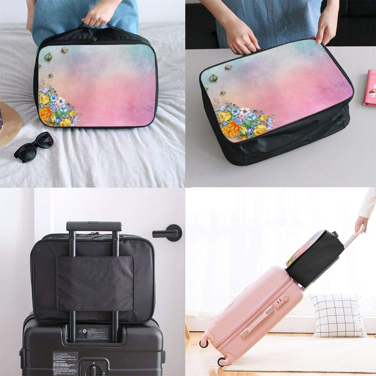 Flowers Leaf Rose Retro Decoration Travel Lightweight Waterproof Foldable Storage Carry Luggage Large Capacity Portable Luggage Bag Duffel Bag