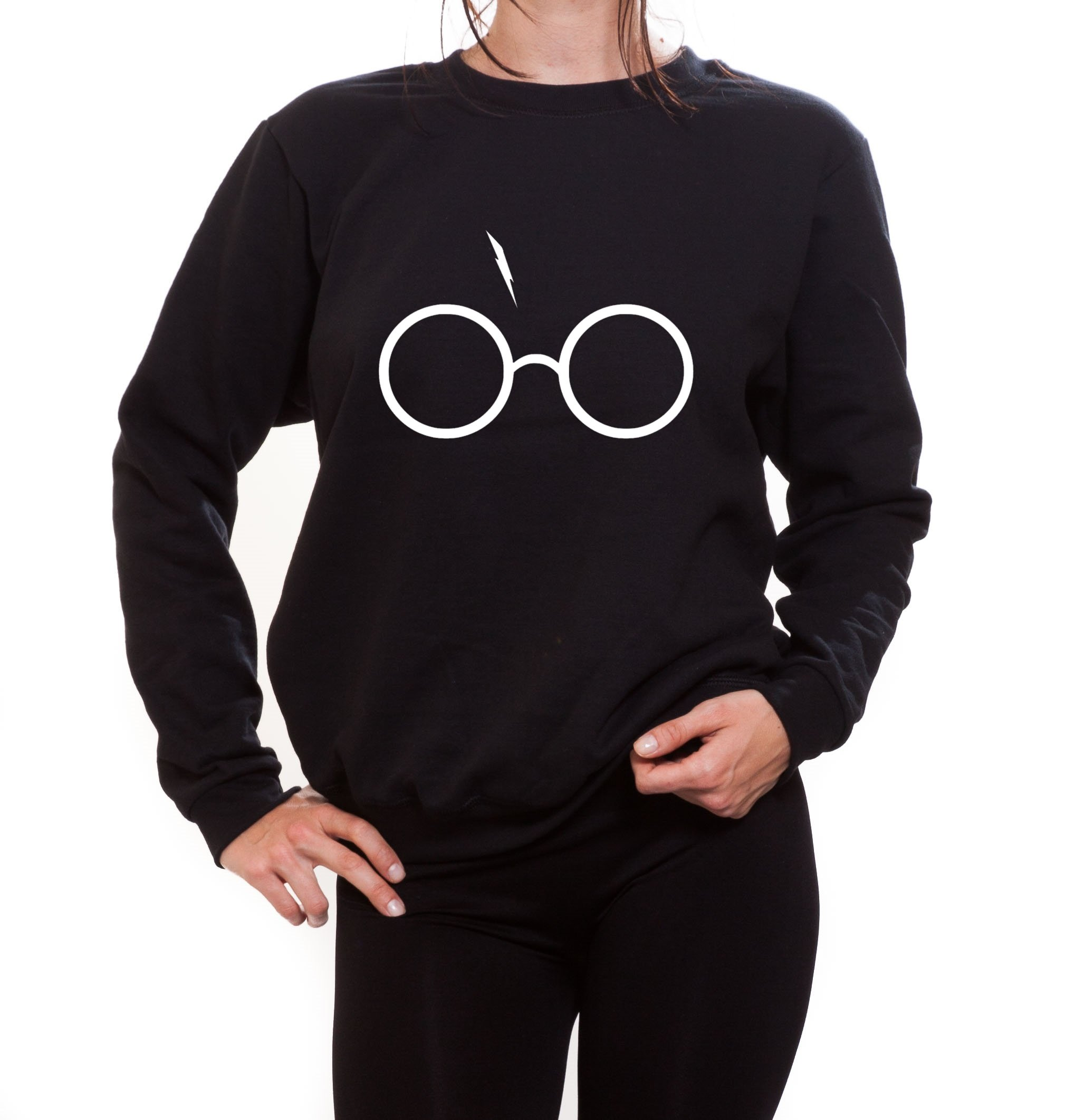 Blue Lagoon Fashion Women's Harry Potter Glasses and Lightning Crewneck Sweatshirt Sweater Christmas (Medium, Black)