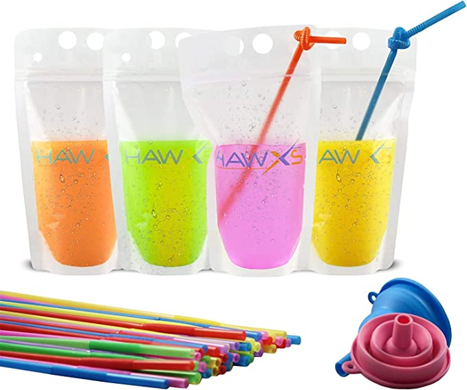 Funnel Included Drink Pouches Bags + Straws for Cold /& Hot Drinks 100PCS