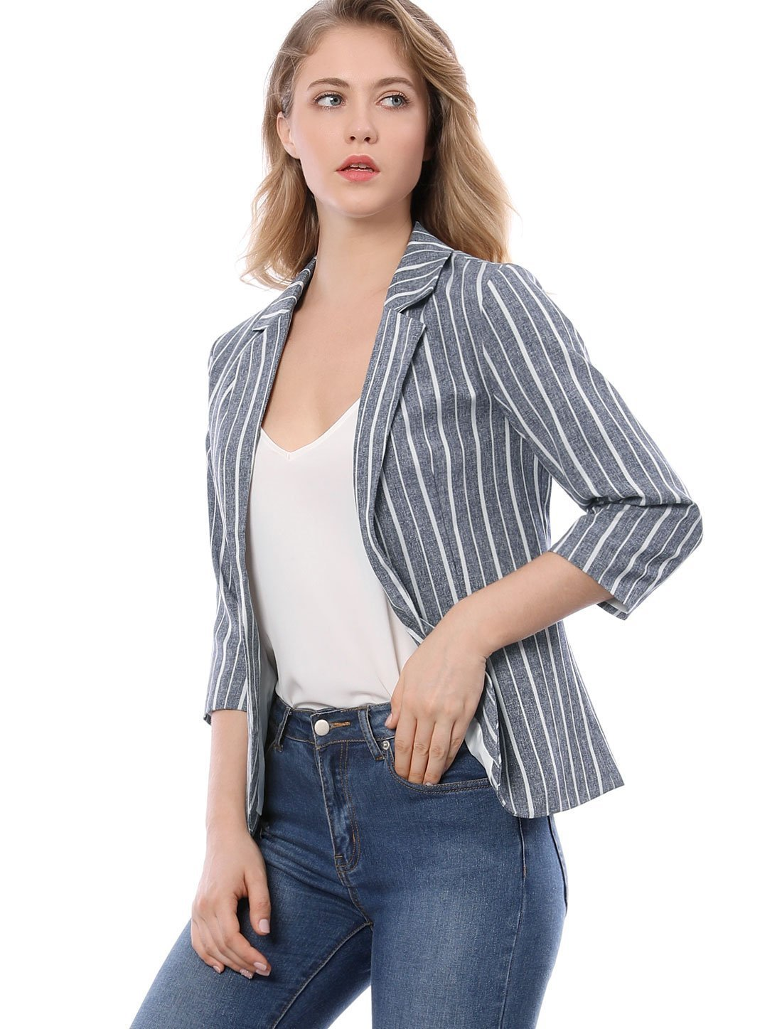 Allegra K Women's Striped 3/4 Sleeves Open Front Notched Lapel Blazer XS Blue