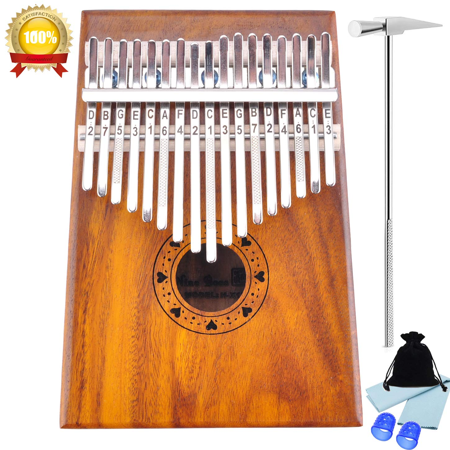 Kalimba 17 Keys Thumb Piano with Tune Hammer Fingertip Protectors and Polishing Cloth,Portable Music Instrument Solid KOA Wood. (KOA Wood-17 keys) WOGOD 4336351455