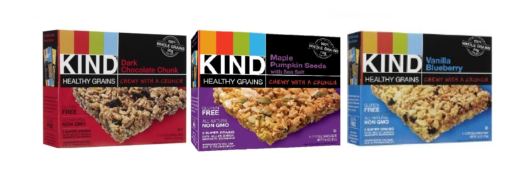 Kind Healthy Grains Granola Bars, Super Variety 3-pack (Each Flavor 1.2 Oz X 5 Count Box) -Maple Pumpkin Seeds with Sea Salt + Vanilla Blueberry + Dark Chocolate Chunk by Kind Bars